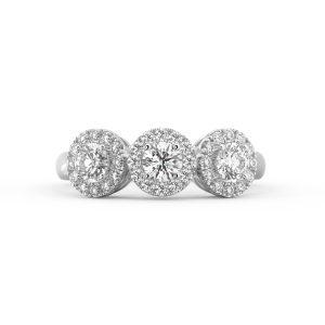Three Stone Halo Diamond Ring