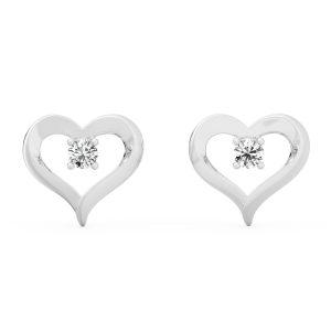 white gold heart shape ear ring